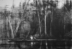Boat on the Marañón River, Jungle series - Contemporary Drawing, work on paper