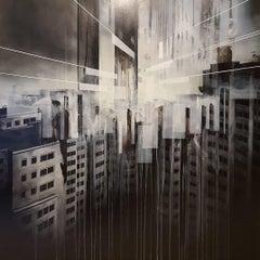 Der Traum vom Fliegen I, semi-abstract cityscape painting