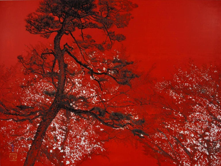 Lumi Mizutani Landscape Painting - Pine Tree and Cherry Trees in the Night, Contemporary Japanese-Style painting