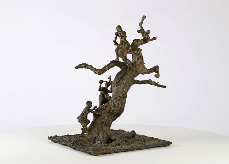 "Tree With Children (Arbre aux Enfants) is a bronze sculpture by French contemporary artist Marine de Soos. It represents three young boys climbing a tree. This sculpture is part of the ""Figure"" series. It is available in a limited edition of 8"