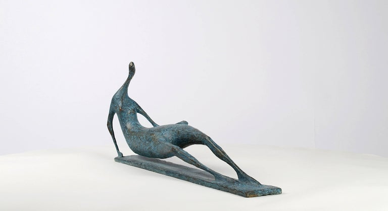 Lying Figure IV - Contemporary Bronze Sculpture - Gold Nude Sculpture by Pierre Yermia