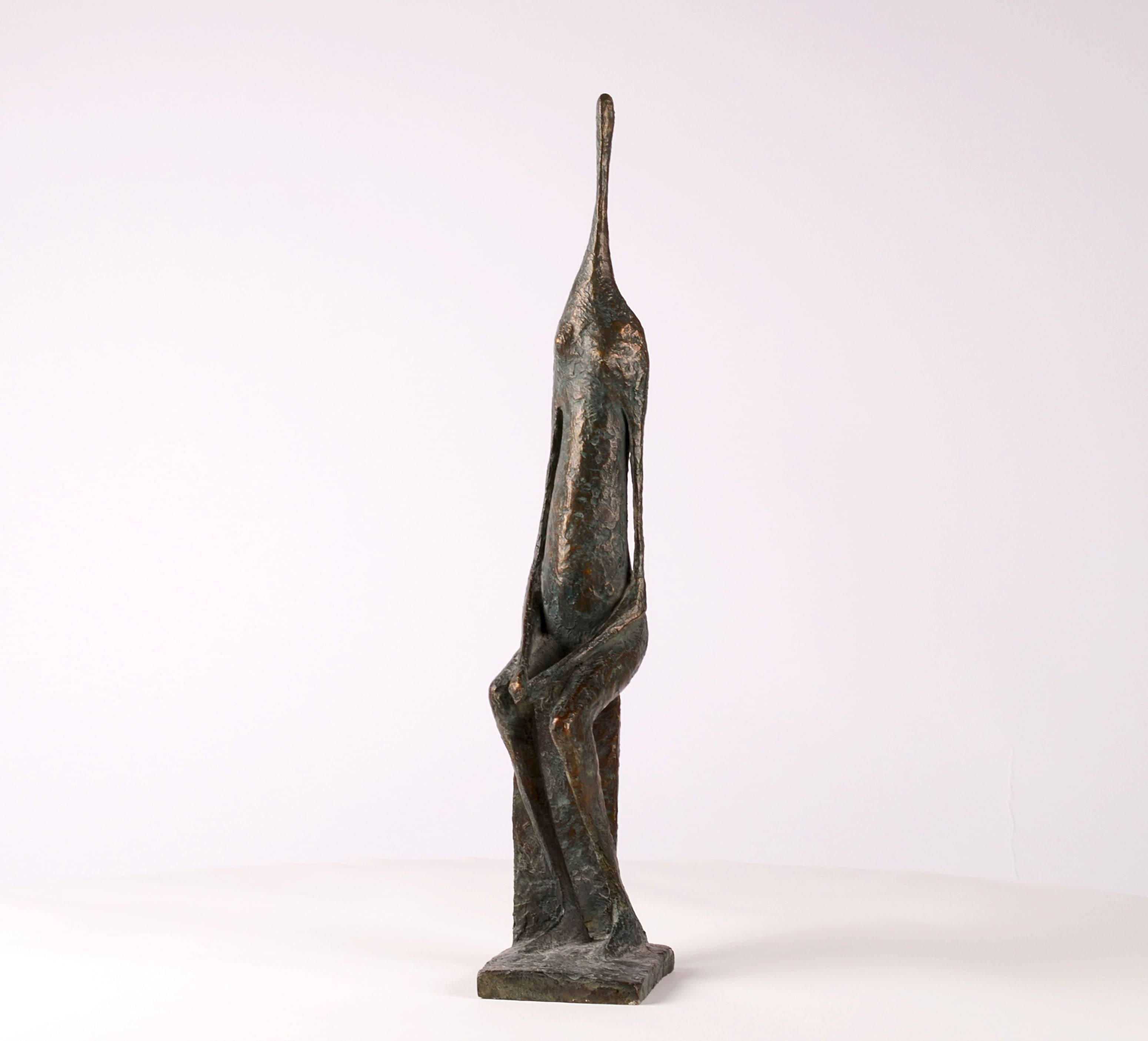 Seated Figure XII - Contemporary Bronze Sculpture