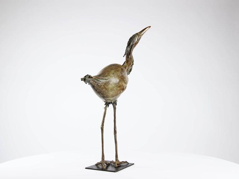 Egret, Bronze Bird Sculpture For Sale 2