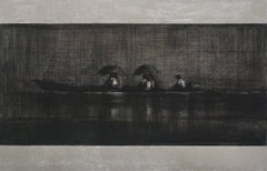 Great boat, Jungle series - Large Pencil Drawing