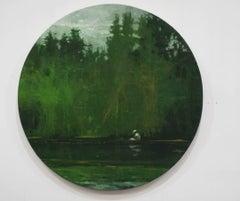 Fisher on the Marañón River, Jungle series (Tondo painting, landscape)