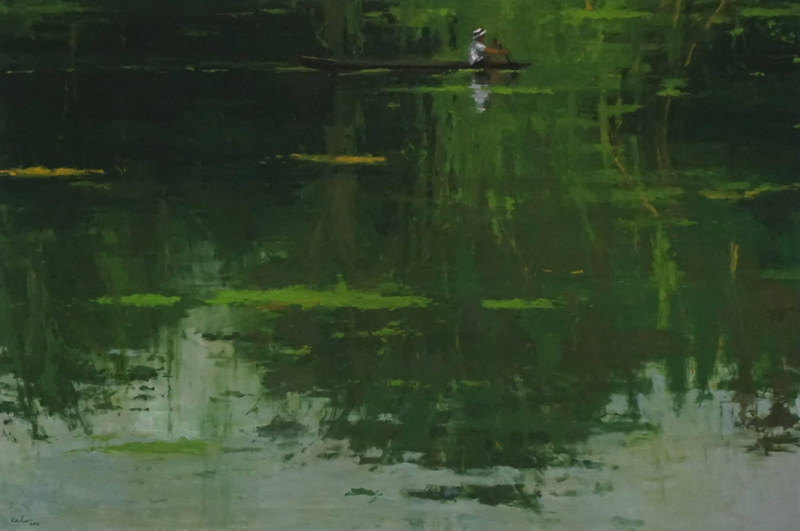 Reflection n°5, Jungle series - Large Waterscape Painting