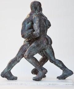Wrestlers VIII, Nude Male Wrestlers Bronze Sculpture