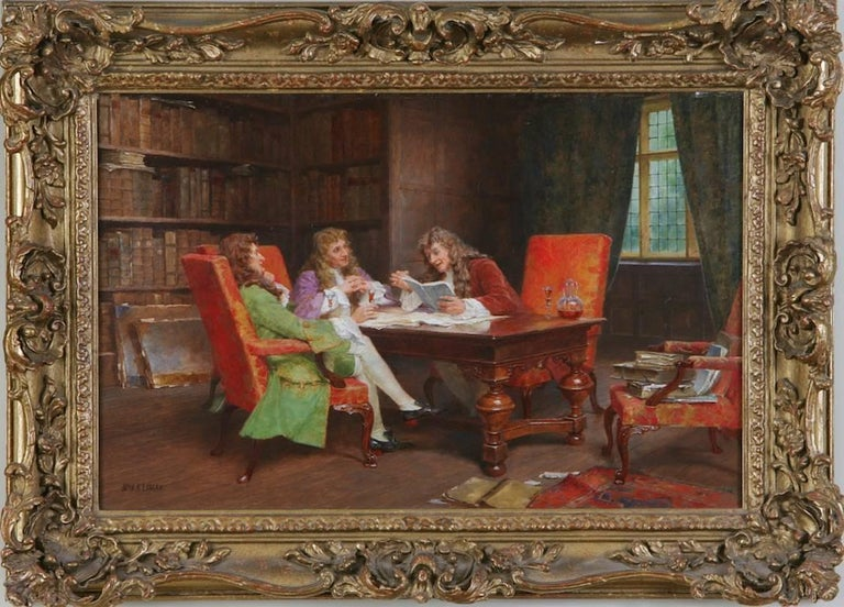 The Debate, A Gentleman's Meeting Genre Painting by Arthur Lomax 19th / 20th C - Brown Interior Painting by John Arthur Lomax