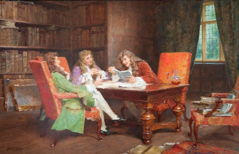 John Arthur Lomax Interior Painting - The Debate, A Gentleman's Meeting Genre Painting by Arthur Lomax 19th / 20th C