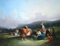 A Landscape with Cattle and Milkmaids A Rural English Scene by William Shayer Sr