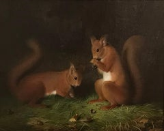 Red Squirrels An English Victorian Animal Painting by Abel Hold 19th Century