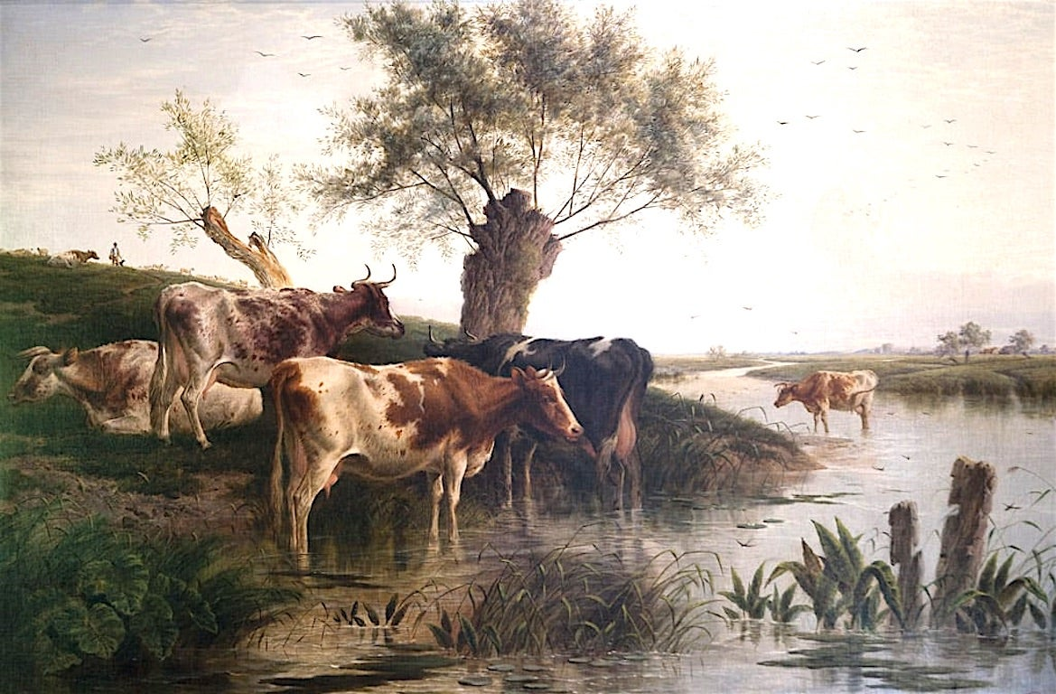 Cattle Watering An English Victorian Landscape 19th Century by Charles Jones