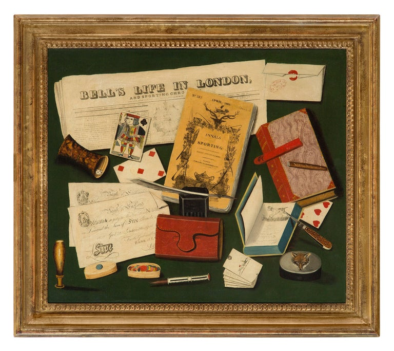 Unknown Still-Life Painting - A gentleman's vices