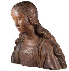 Bust of Virgin or Saint, circa 1500-1520, Northern France.