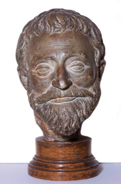 Terracotta head of a bearded man, French school circa 1550-1600