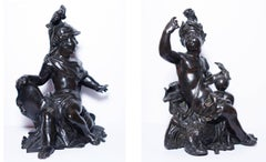 Pair of allegorical bronze figures, French Regency period