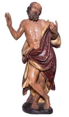St Jerome figure in painted alabaster, southern Italy circa 1600