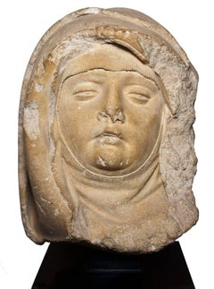 XV th c. limestone head of the Virgin or a Holy Woman