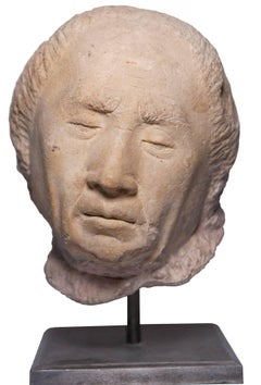 Presumed portrait head of Cardinal Jean Rolin, circle of le Moiturier, XVth c.