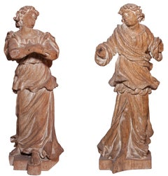Pair of worshiping baroque angels of the XVII th century