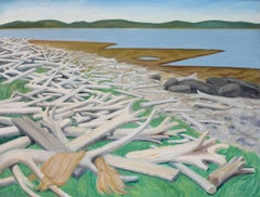 Driftwood Beach at Port au Choix Newfoundland, landscape oil painting on canvas