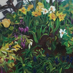 Spring Garden by the Wall, floral oil painting on canvas