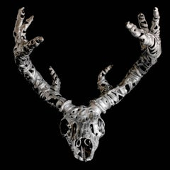 Trophy, cast aluminium deer skull sculpture
