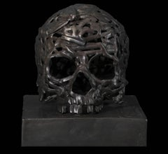 Light of the Moon, cast bronze skull sculpture