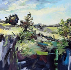 As it Hits the Ground, oil and acrylic landscape painting on canvas