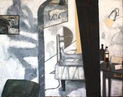 Motel Nova Scotia, figurative oil painting on canvas