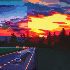 Highway at Dusk, landscape oil painting on canvas