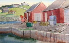 The Red Sheds at Port Au Choix, landscape watercolour painting