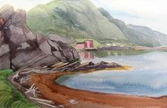 The Rock Fish Sheds, landscape watercolour painting