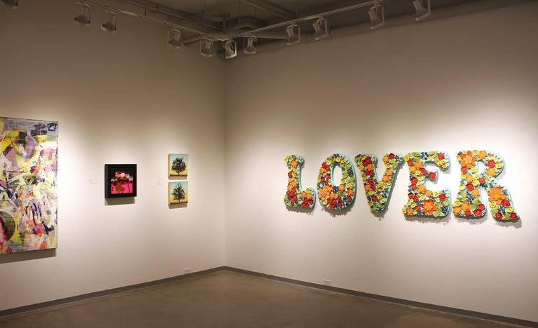 LOVER, floral ceramic wall sculpture on board - Contemporary Sculpture by Laura Jean Forrester