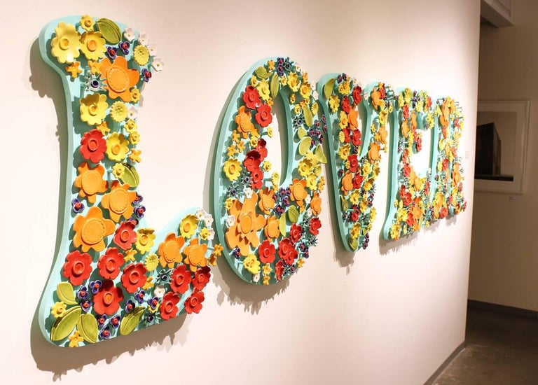 LOVER, floral ceramic wall sculpture on board - Brown Figurative Sculpture by Laura Jean Forrester