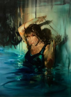 Immerse, figurative oil painting on canvas
