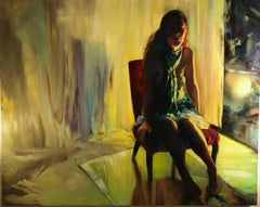 The Evening Waits, figurative oil painting on canvas
