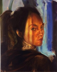 Tess Looking Back, figurative oil painting on canvas