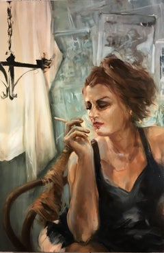 Cigarette White, figurative oil painting on canvas