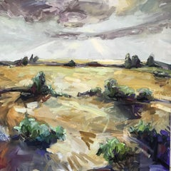 Enduring, oil and acrylic landscape painting on canvas