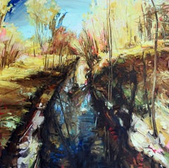 Foreign Language For Beginners, oil and acrylic landscape painting (framed)