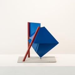 Lillooet, steel sculpture painted blue and red (maquette)
