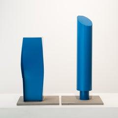 Blue Columns, steel sculpture painted blue (maquette)