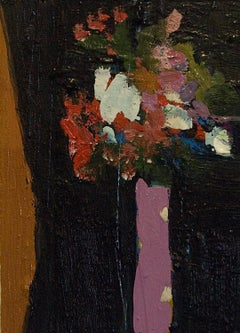 Flowers with Black II, abstract floral oil painting on canvas