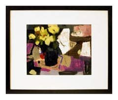Rigamarole, mixed media abstract floral painting on paper