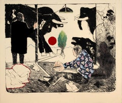 The Last Neanderthal, mixed media figurative lithograph on paper