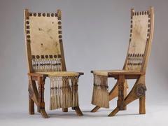 Pair of Remarkable Walnut Hall Chairs