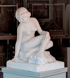 White Marble Figurative Statue 'Nymph at a Well' by C. Pittulaga