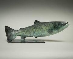 'Salmon' Solid Bronze Fish. Modern British Wildlife & Nature Sculpture