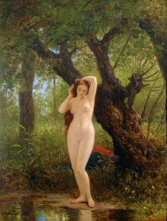 Green Landscape with Dreamlike Nude Figure at waters edge 'Before Bathing'
